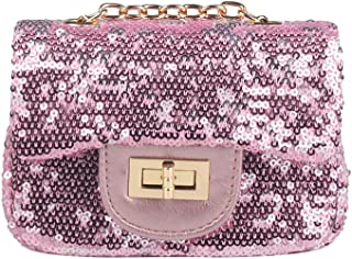 Pinky Family Little Girls Purse Sequin Glitter Toddler Kids Purse Gifts For Girls Pink
