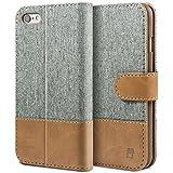 BEZ® Handyhülle iPhone 6, iPhone 6S Hülle, Handyhülle Kompatibel für iPhone 6 / 6S, Handytasche Schutzhülle Tasche Flip Case [Stoff BEZ®ug & PU leder] mit Kreditkartenhaltern - Grau