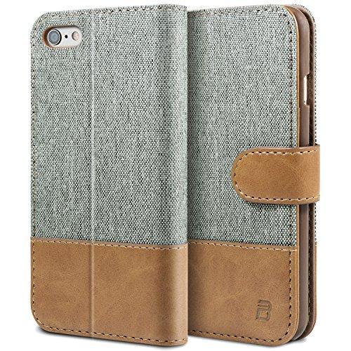 BEZ Hülle für Handyhülle iPhone 6S, iPhone 6S Hülle, Handyhülle Kompatibel für iPhone 6 / 6S, Handytasche Schutzhülle Tasche [Stoff und PU Leder] mit Kreditkartenhaltern - Grau