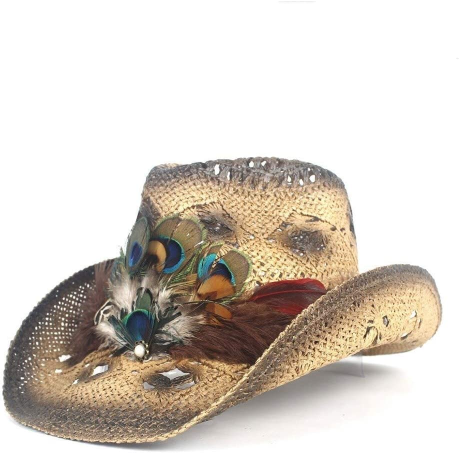 Max 62% OFF Mail order LHZUS Hats Cowboy Hat Ms. Straw Peacock Handmade Som Feather