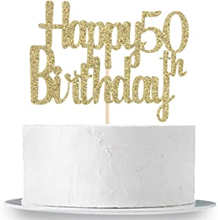 Happy 50th Birthday Cake Topper, Gold Glitter 50th Anniversary Birthday Party Cake Decorations Supplies
