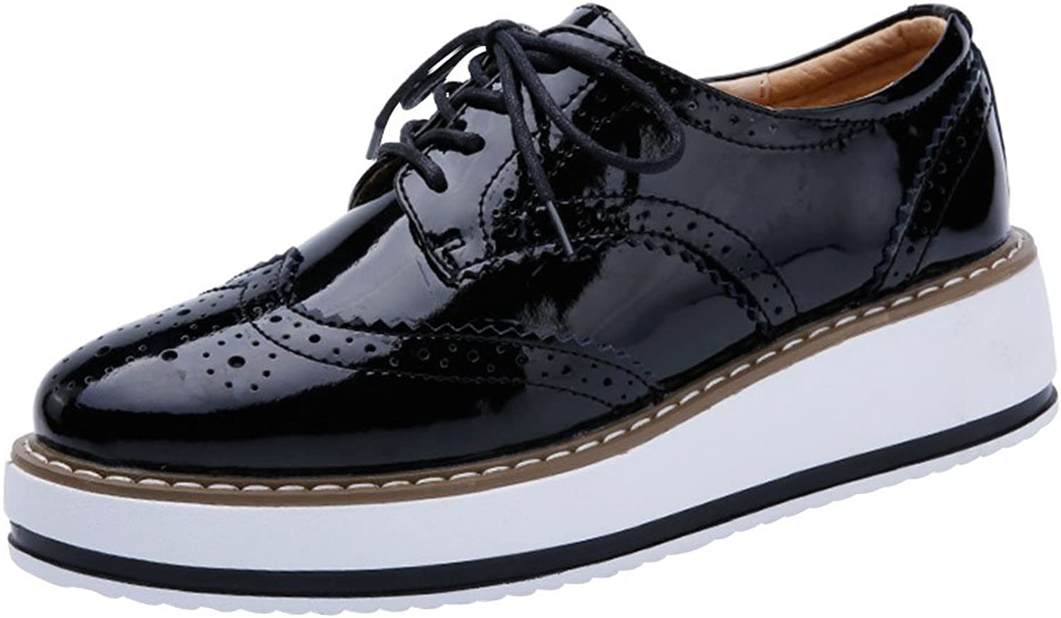 Sekesin Women's Trendy Round Toe Platform Oxfords Lace-Up Wingtips Brogues Sneakers shoes