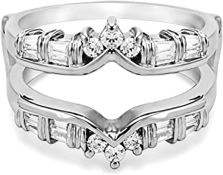 TwoBirch 0.7 Ct. Baguette and Round Chevron Ring Guard in Sterling Silver with Cubic Zirconia