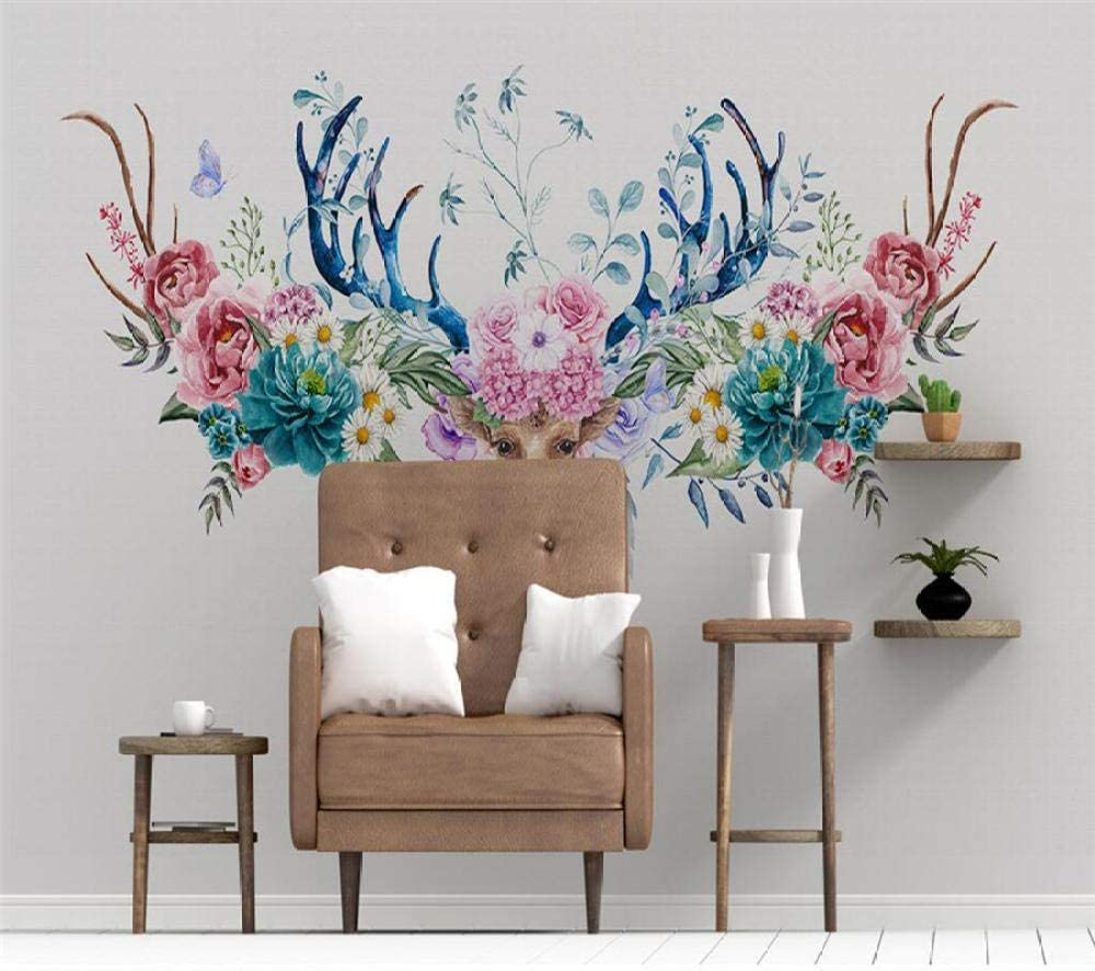 ZCLCHQ Seattle Mall DIY Wallpaper Antlers Max 42% OFF Non-Woven muralFlowers