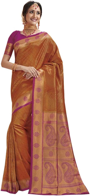 Indian Traditional Ethnic Rich Art Silk Saree with Blouse piece Women Sari Designer Evening Party wear 7818