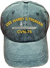 USS Harry S. Truman CVN-75 Ship Military 100% Wash Cotton Hat Blue