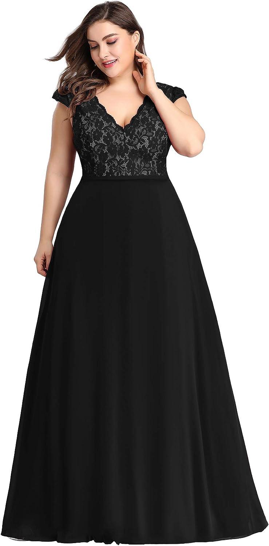 Ever-Pretty Women's Double V-Neck Floral Lace Patchwork Wedding Bridesmaid Dress Plus Size 7344PZ