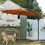 wikiwiki H Series Patio Offset Hanging Umbrella 10 FT Cantilever Outdoor Umbrellas w/Infinite Tilt, Fade Resistant Waterproof Solution-Dyed Canopy & Cross Base, for Yard, Garden & Deck (Orange)