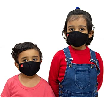 Toytle Anti-Pollution 4 Layer Cotton Washable And Reusable Mask For Kids (Black) Make In India Initiative (Pack of 2 Pieces) Age - 3 To 5 Years, From ISO 9001 & CE & GMP Certified Company.