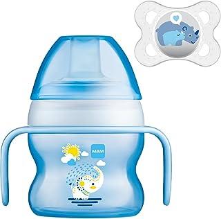 MAM Set - Starter Cup Animal 150ml Vaso de aprendizaje 4+ Meses + MAM Original Chupete (Color: Azul)