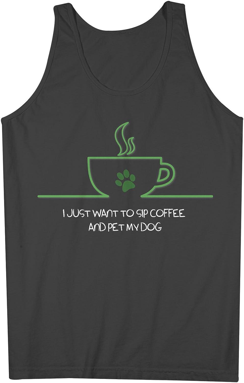 I Just Want To Sip Coffee And Pet My 犬 おかしいです 犬z Pet Lover 男性用 Tank Top Sleeveless Shirt