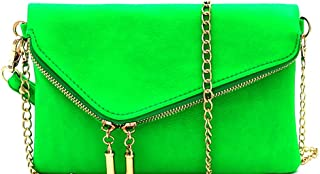 Fashion PU Leather 2 Way Flap Clutch Bag with Chain Shoulder strap