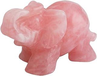 "SUNYIK Rose Quartz Elephant Pocket Statue Kitchen Guardian Healing Figurine Decor 1.5"""