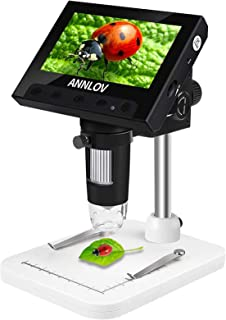 LCD Digital Microscope, ANNLOV 4.3 inch USB Microscope 50X-1000X Magnification Handheld Electronic Coin Microscope Video C...