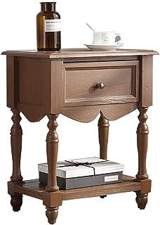 Vintage Bedside Table Solid Wood Flower Shop Cabinet Sofa Side Cabinet With Drawer Multifunctional Bedroom Cabinet Distres...