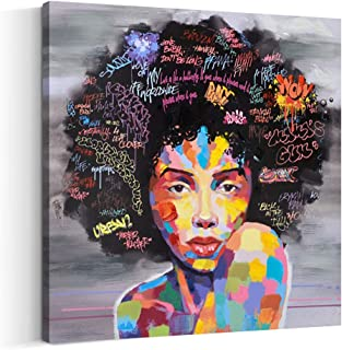 Crescent Art Framed Black Art African American Wall Art For Living Room, Original Design Painting on Canvas Print (24 x 24 inch, B Framed)