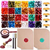 Sealing Wax, Paxcoo 785pcs Sealing Wax Kit with Wax Seal Beads, Wax Seal Stamp, Wax Seal Warmer, Wax Spoon, Envelopes and Tealight Candles for Letter Sealing