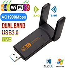 Dual Band USB WiFi Adapter 5.8GHz 1900Mbps 802.11AC Long Distance WiFi Receiver Super Speed USB 3.0 Ethernet Adapter for Laptop/Desktop/PC, Support Windows10/8/8.1/7/Vista/XP/2000, Mac OS (Black)