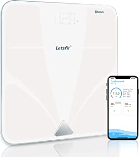 Bluetooth Body Fat Scale, Letsfit Smart Wireless Digital Bathroom Weight Scale, Body Composition Analyzer, Free APP for Body Weight, Fat, Water, BMI, Muscle, Bone, 400lb …