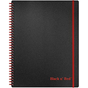 Black n' Red Twin Spiral Poly Cover Notebook, Large (11 x 8-1/2 inches), Black, 70 Ruled Sheets, Pack of 1 (K66652)