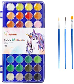 36 Colors Watercolor Paint,with 3 Paint Brushes,Watercolor Palette Paint Set for Adults and Kids,Art Supplies for Beginner...