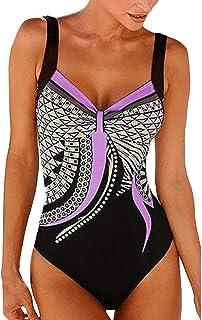 Dainzuy Bikini Traje de baño para Mujer, Talla Grande, Verano, sin Espalda, Sexy, Estampado, Traje de baño de Playa siamés clásico, Conjunto de Bikini