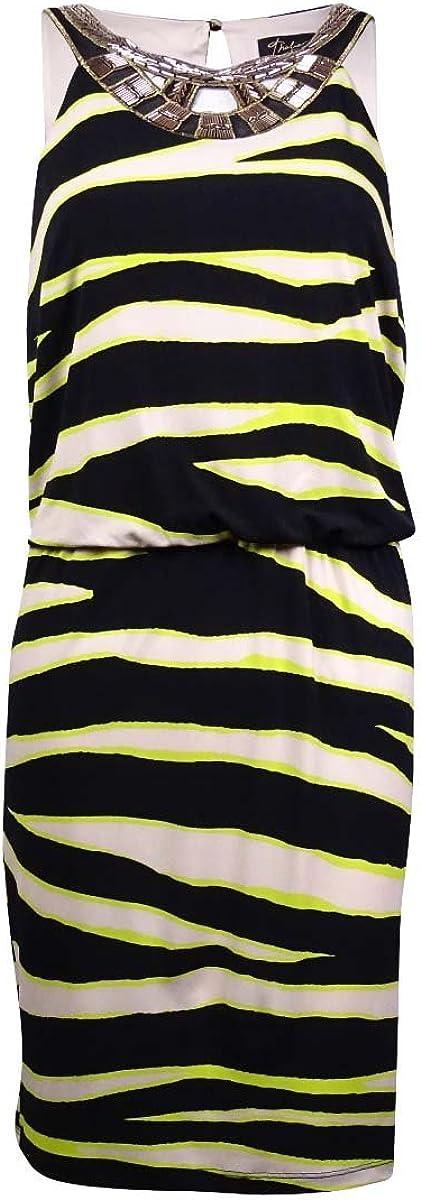 Charter Club Thalia Sodi Beaded Blouson Zebra Print Neon Dress S
