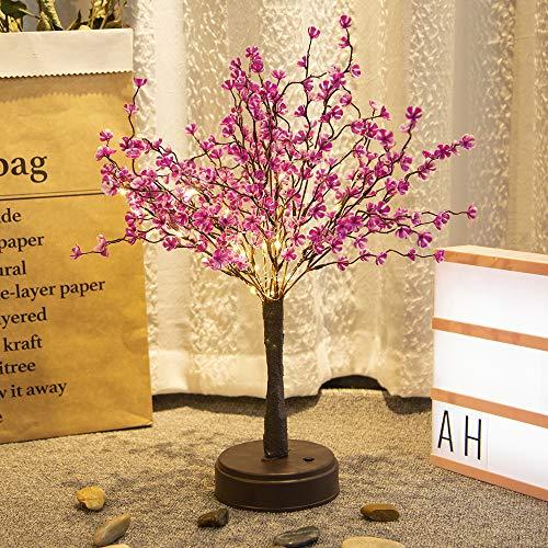 LED Tabletop Bonsai Tree Lights, Artificial Flower Bonquet Plum Blossom Tree with Fairy Lights Spirit Tree Christmas Lamp Bedroom Decor for Teen Girls Women- Plum Blossom