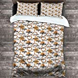 Bedding Duvet Cover Coffee,Latte and Espresso Quote 3-Piece Bedding Sets (1 Duvet Cover,2 Pillow Shams) Wrinkle Free Hypoallergenic Bedding, Queen 68'x90'