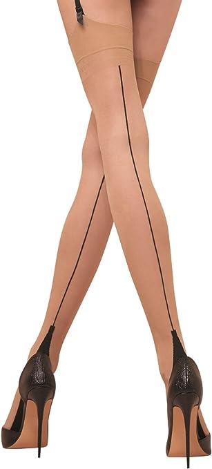 1 Pair Vintage Zig Zag Fully Fashioned nylon Stockings Dark Seam Foot 51Gauge9.5