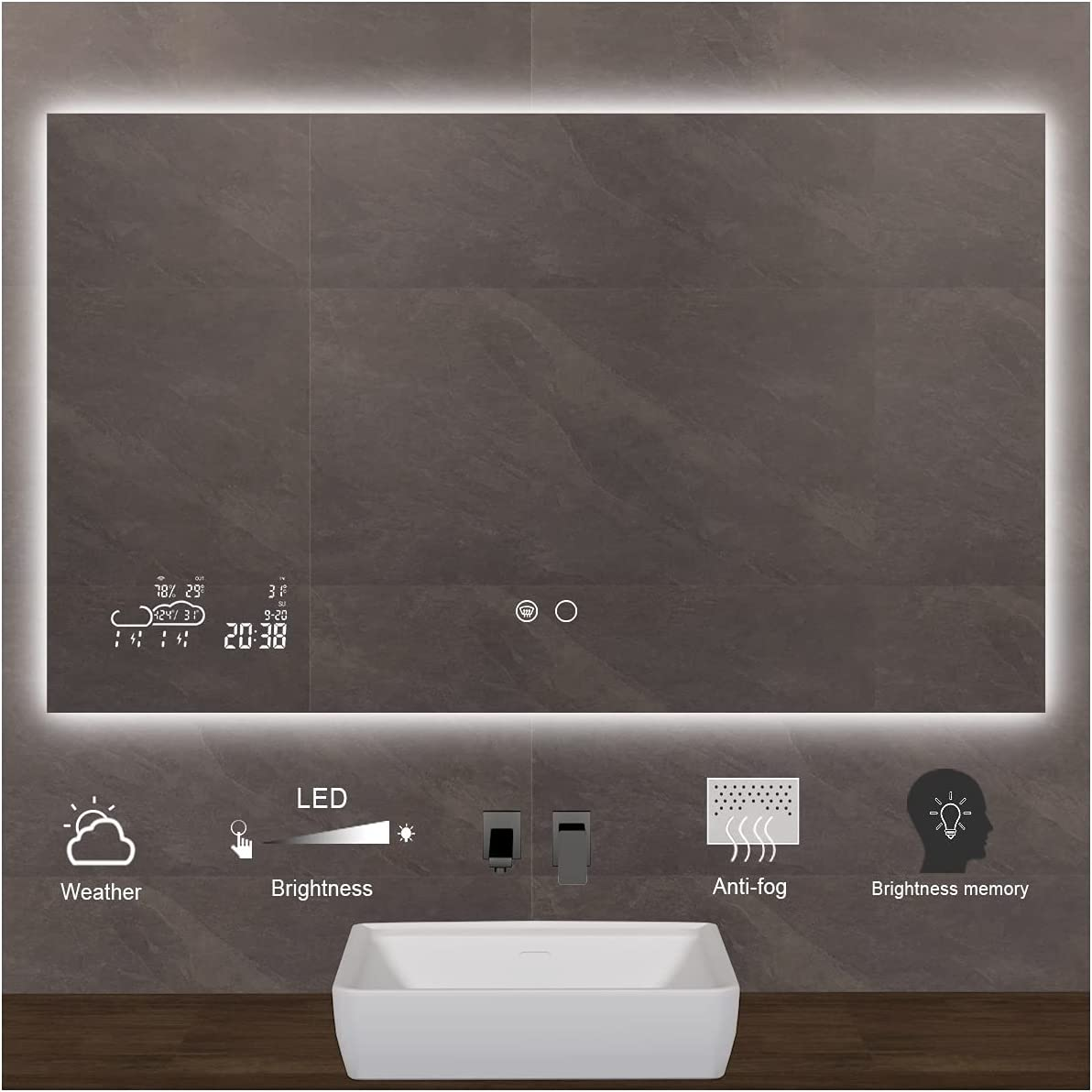 Keonjinn 40 x 24 Inch Raleigh Mall Smart Touch Switch LED Lighted Shipping included Mirror with