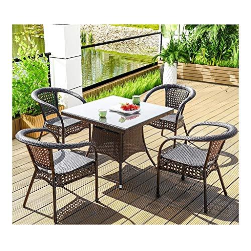 DYYD Juegos de Muebles de jardín Rattan Muebles de jardín Mesa y sillas de jardín Conjunto de Cristal Mesa de café Mesa de Conversación Conversación Patio al Aire Libre