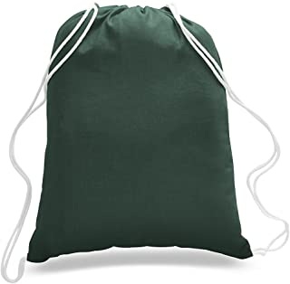 Sponsored Ad - (12 Pack) 1 Dozen - Durable Cotton Drawstring Tote Bags (Forest Green)