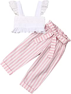 Toddler Baby Girls 2Pcs Set,Kids Ruffle Vest Crop Tops+Floral Wide Leg Pants Summer Outfits