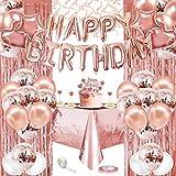 Decoraciones de Cumpleaños de oro rosa, specool Pancarta de Feliz Cumpleaños,Globos de confeti Blanco y Dorado Rosa,Globos de Papel de Aluminio,Cortinas de papel de oro rosa, Mantel de plástico