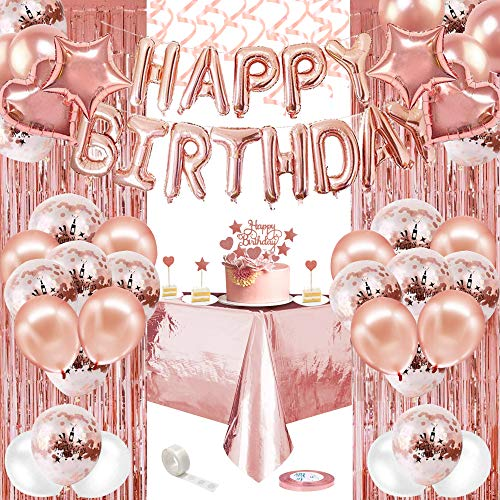 AYUQI Decoraciones de Cumpleaños de oro rosa,  Pancarta de Feliz Cumpleaños, Globos de confeti Blanco y Dorado Rosa, Globos de Papel de Aluminio, Cortinas de papel de oro rosa,  Mantel de plástico