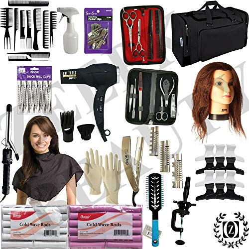Liberty Supply Beauty & Barber School Kit Cosmetology Student Barber School Practice Kit State Board Approved w/Mannequin Manikin Head