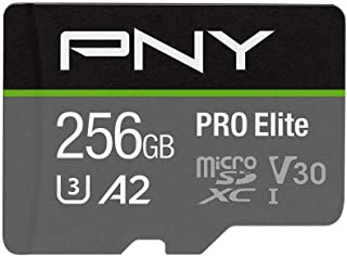 PNY PRO Elite 256GB microSDXC Memory Card + SD Adaptor, Class 10 UHS-I, U3, A2 App Performance, V30 for 4K Video, Read spe...