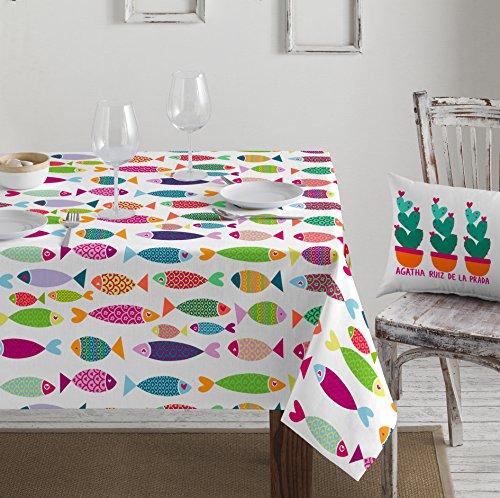 Agatha Ruiz de la Prada Dig-001 Mantel, Estampación Digital, Algodón, Multicolor, 140x140x3 cm
