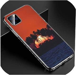 Iphone 11 11Pro Xs Max Xr X 8 7 6S 6 Plus 5S電話ケース用の日没のヤシの木で透明なクリアTpuカバーシーン、iphone Xrのスタイル01