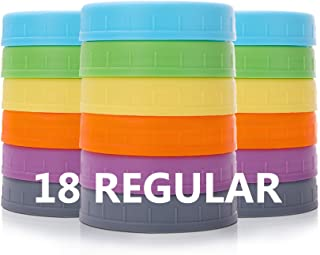 Aozita [18 Pack] Plastic REGULAR Mouth Mason Jar Lids for Ball, Kerr and More with Silicone Rings - Food Grade Colored Pla...