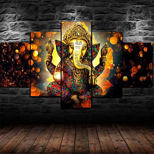 GMSM 5 Piezas Cuadro sobre Lienzo- Lord Ganesha, Hijo de Shiva Parvati Impresión Artística Imagen Gráfica-5 Piezas-Impresión en Lienzo Listo Colgar-en un Marco,Moderna decoración del hogar