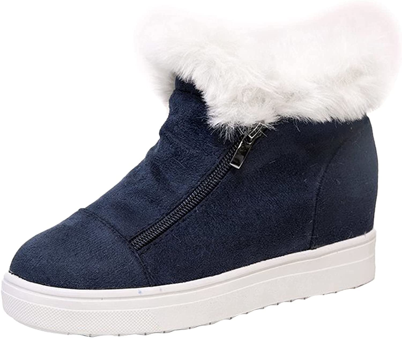 Snow Boots for Women Platform Zipper Winter Warm Ankle Boots