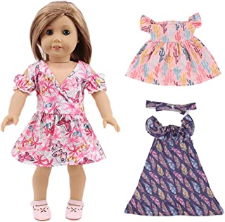 yeesport 3PCS 18 Inch Doll Summer Dresses Fashion Doll Outfits Doll Flower Dress Girl Doll Floral Dresses 18 Inch Doll Dre...