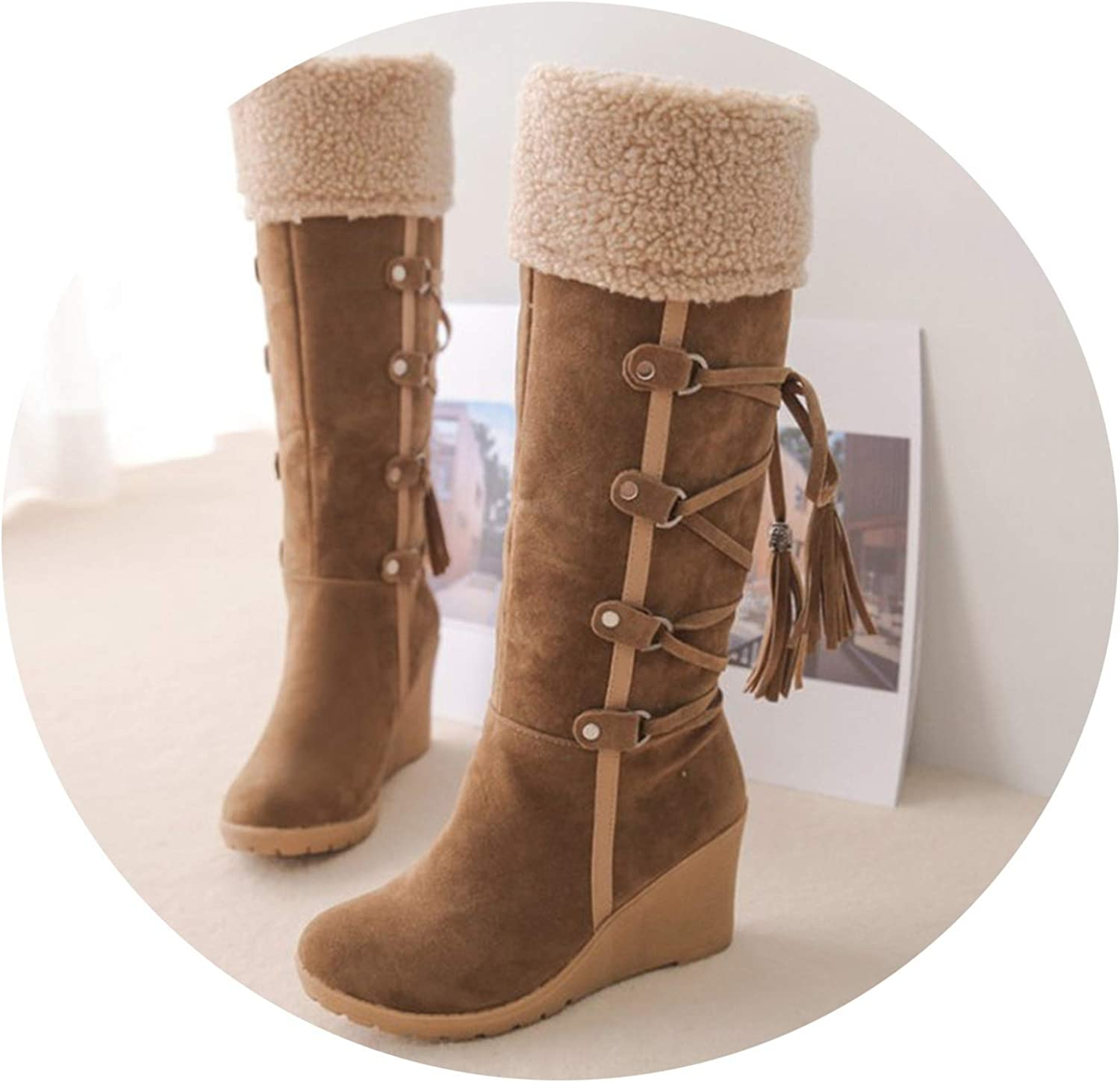 Boots Cross Strap shoes Plush Wedge Heel Knee High Cotton Padded Faux Fur Snow Boots