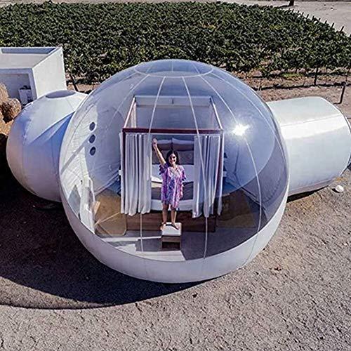 D&F Burbuja Tienda Casa Inflable -Tienda Al Aire Libre Lujoso Transparente Cuartos Dobles- con Ventilador Soplador Y Reparar Equipo para Relajarse y admirar Las Estrellas 9.8ft + 6.6ft +6.6ft