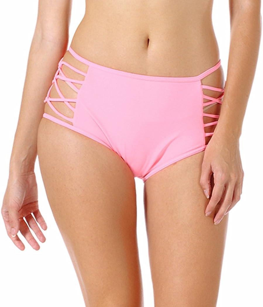 Women High Waist Strappy Brief Bottom Bikini Retro Solid Tankini Swimsuit Bandage Panties