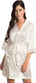 15d74a12e8 Zynotti Women s Personalized Rhinestone Monogram Satin Robe for Bride  Bridesmaid and Wedding Party