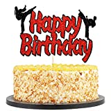 QIYNAO Karate Happy Birthday Cake Topper,Taekwondo Cupcake Toppers for Boys Girls Kids Baby Shower Wedding Birthday Event Party Supplies Glitter Cake Decorations(Black red Glitter)