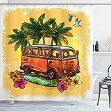 ABAKUHAUS Skizzenhaft Duschvorhang, Hippie Alter exotischer Bus, mit 12 Ringe Set Wasserdicht Stielvoll Modern Farbfest & Schimmel Resistent, 175x180 cm, Orange Gelb Grün